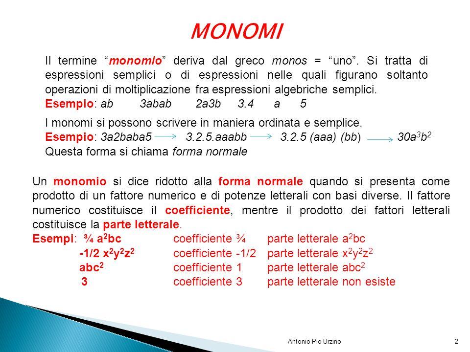 """Antonio Pio Urzino2 MONOMI Il termine """"monomio"""" deriva dal greco monos = """"uno"""". Si tratta di espressioni semplici o di espressioni nelle quali figuran"""