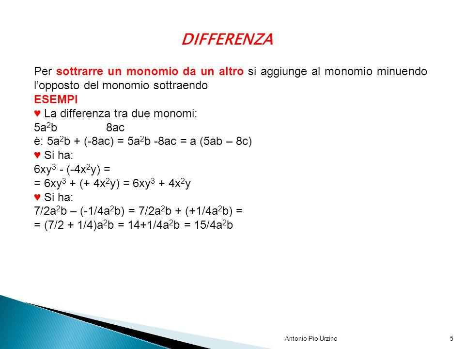 Antonio Pio Urzino5 DIFFERENZA Per sottrarre un monomio da un altro si aggiunge al monomio minuendo l'opposto del monomio sottraendo ESEMPI ♥ La diffe