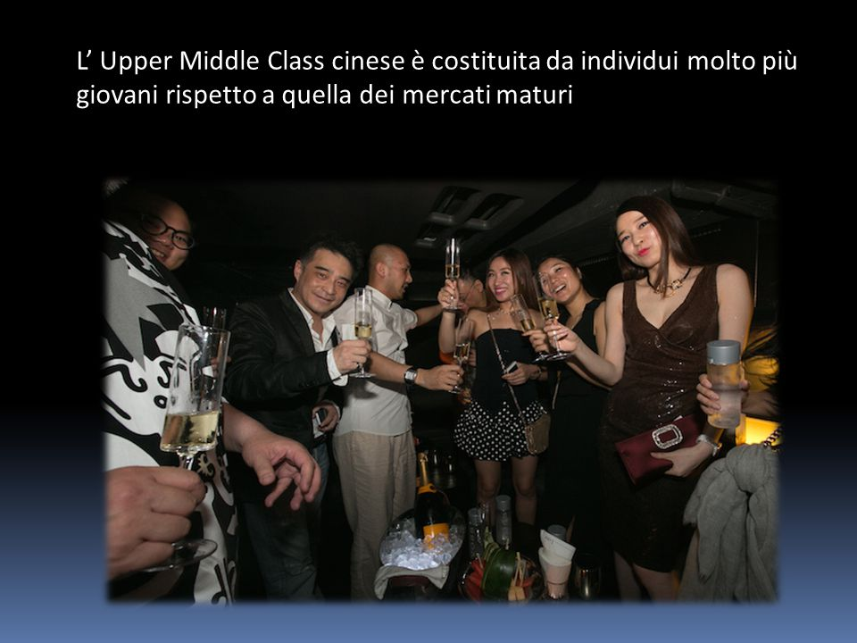 L' Upper Middle Class cinese è costituita da individui molto più giovani rispetto a quella dei mercati maturi