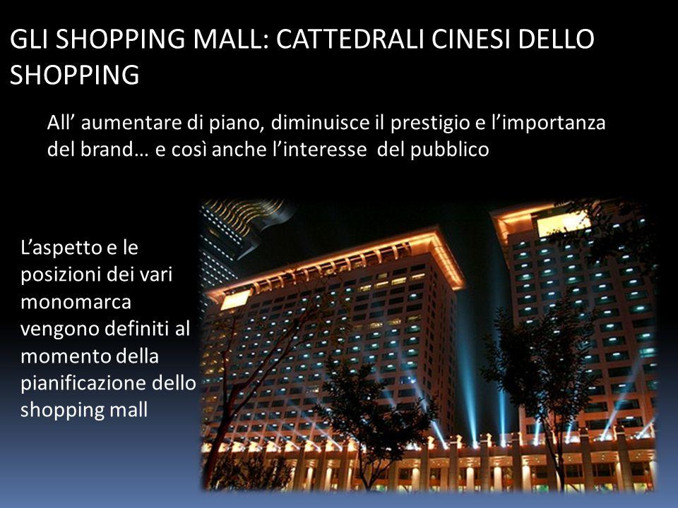 GLI SHOPPING MALL: CATTEDRALI CINESI DELLO SHOPPING All' aumentare di piano, diminuisce il prestigio e l'importanza del brand… e così anche l'interesse del pubblico L'aspetto e le posizioni dei vari monomarca vengono definiti al momento della pianificazione dello shopping mall
