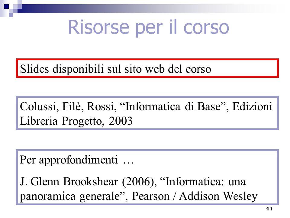 Colussi, Filè, Rossi, Informatica di Base , Edizioni Libreria Progetto, 2003 Risorse per il corso Slides disponibili sul sito web del corso 11 Per approfondimenti … J.