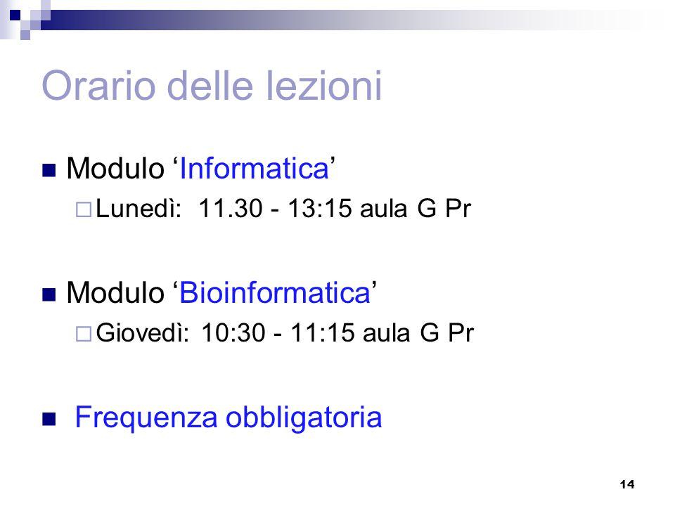 Orario delle lezioni Modulo 'Informatica'  Lunedì: 11.30 - 13:15 aula G Pr Modulo 'Bioinformatica'  Giovedì: 10:30 - 11:15 aula G Pr Frequenza obbligatoria 14