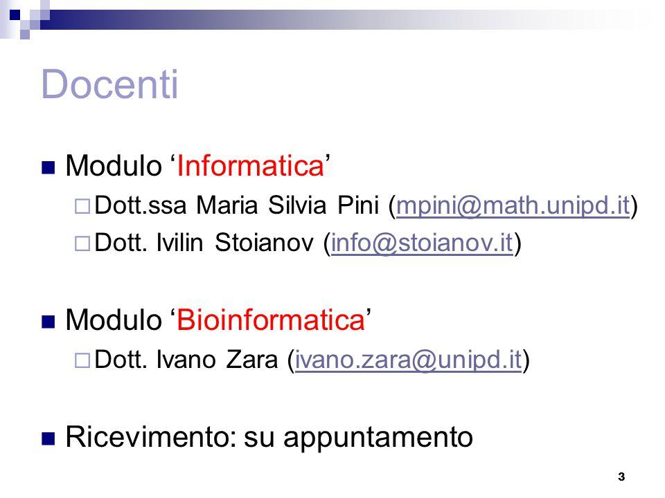 Modalità esame Prova scritta (Informatica + Bioinformatica)  domande a risposta libera  domande a risposta multipla 4