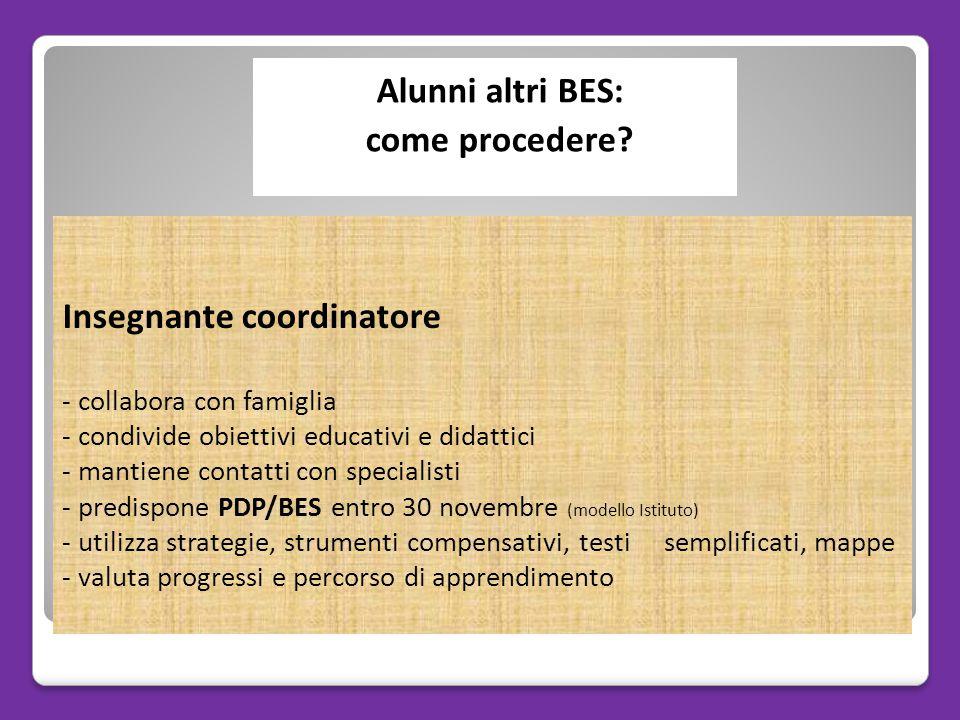 Insegnante coordinatore - collabora con famiglia - condivide obiettivi educativi e didattici - mantiene contatti con specialisti - predispone PDP/BES