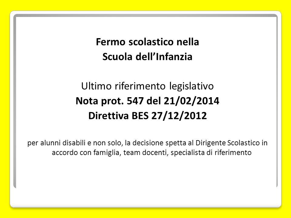 Fermo scolastico nella Scuola dell'Infanzia Ultimo riferimento legislativo Nota prot. 547 del 21/02/2014 Direttiva BES 27/12/2012 per alunni disabili