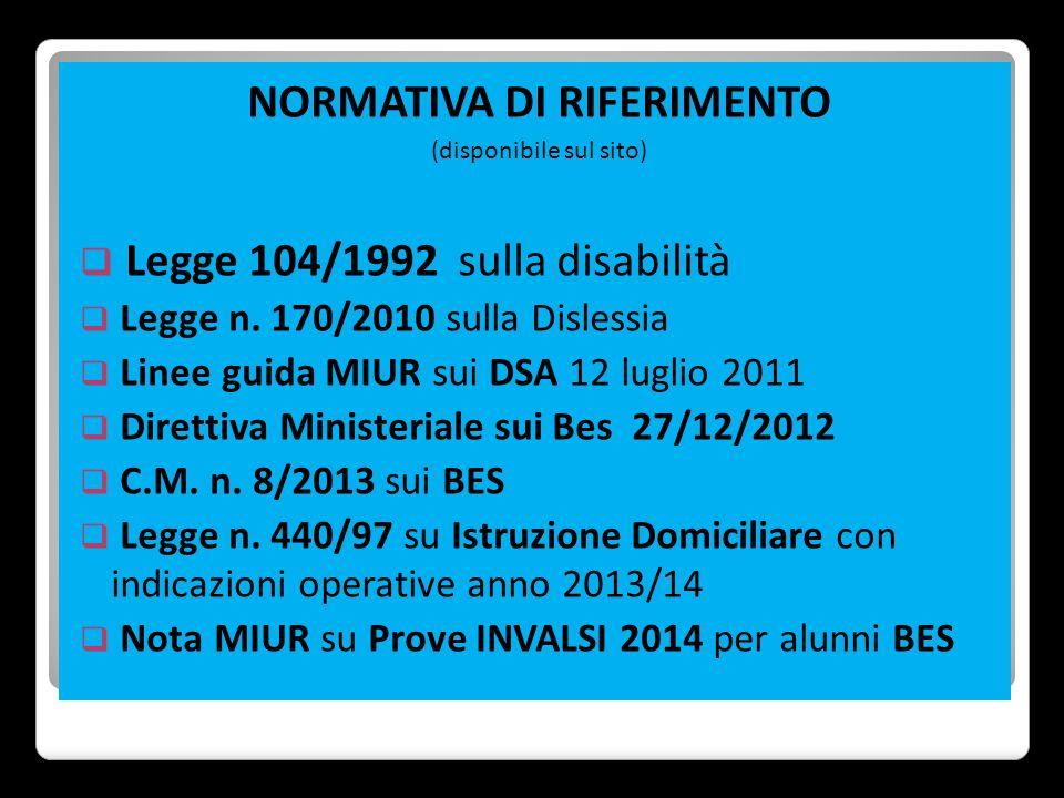 NORMATIVA DI RIFERIMENTO (disponibile sul sito)  Legge 104/1992 sulla disabilità  Legge n. 170/2010 sulla Dislessia  Linee guida MIUR sui DSA 12 lu
