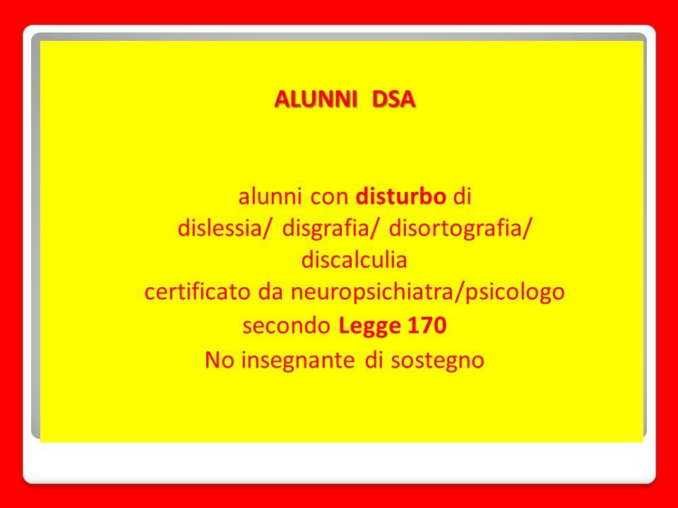 ALUNNI DSA alunni con disturbo di dislessia/ disgrafia/ disortografia/ discalculia certificato da neuropsichiatra/psicologo secondo Legge 170 No inseg