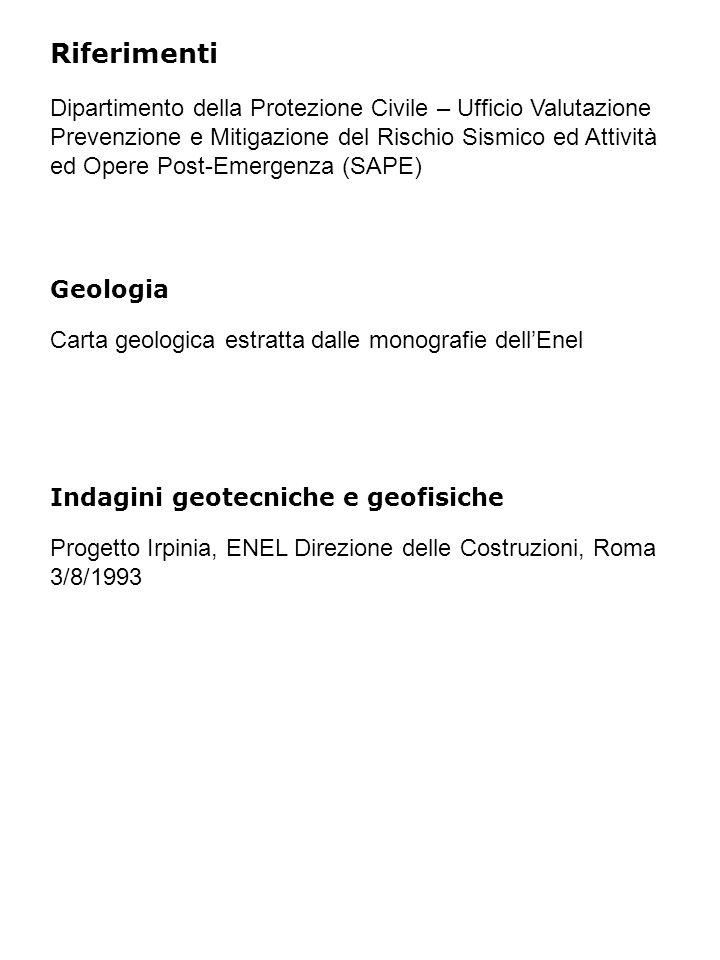 Riferimenti Geologia Indagini geotecniche e geofisiche Progetto Irpinia, ENEL Direzione delle Costruzioni, Roma 3/8/1993 Carta geologica estratta dall