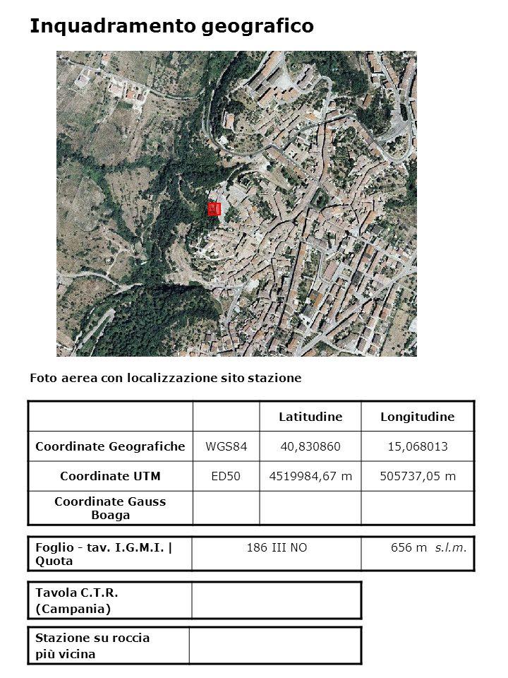 Foto aerea con localizzazione sito stazione Foglio - tav. I.G.M.I. | Quota 186 III NO656 m s.l.m. Inquadramento geografico LatitudineLongitudine Coord