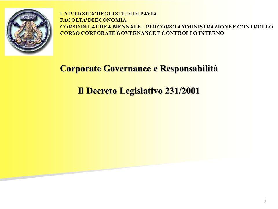 11 Corporate Governance e Responsabilità Il Decreto Legislativo 231/2001 UNIVERSITA' DEGLI STUDI DI PAVIA FACOLTA' DI ECONOMIA CORSO DI LAUREA BIENNAL