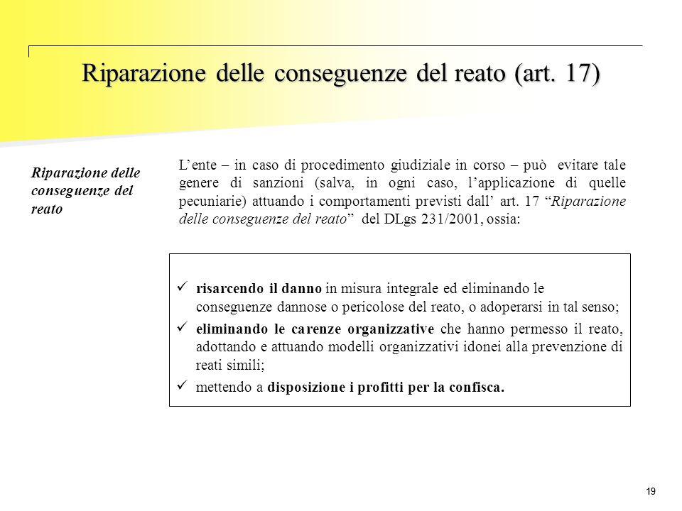 19 Riparazione delle conseguenze del reato L'ente – in caso di procedimento giudiziale in corso – può evitare tale genere di sanzioni (salva, in ogni