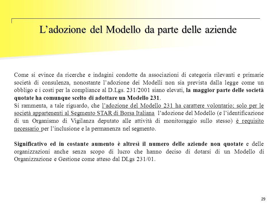 29 L'adozione del Modello da parte delle aziende Come si evince da ricerche e indagini condotte da associazioni di categoria rilevanti e primarie soci
