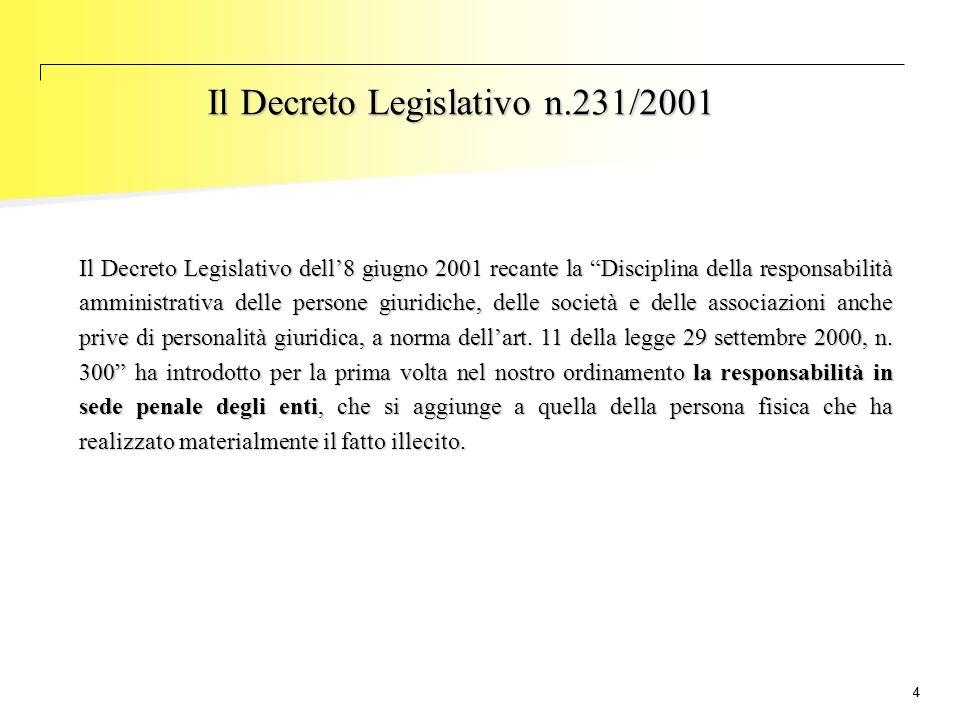 """44 Il Decreto Legislativo n.231/2001 Il Decreto Legislativo dell'8 giugno 2001 recante la """"Disciplina della responsabilità amministrativa delle person"""