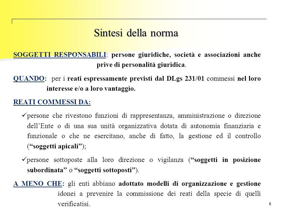 77 La novità della norma La principale novità introdotta dal DLgs 231/2001 consiste nella RESPONSABILITA' DELL'ENTE che si aggiunge a quella delle persone fisiche che commettono il reato Le sanzioni a carico delle persone fisiche (es.