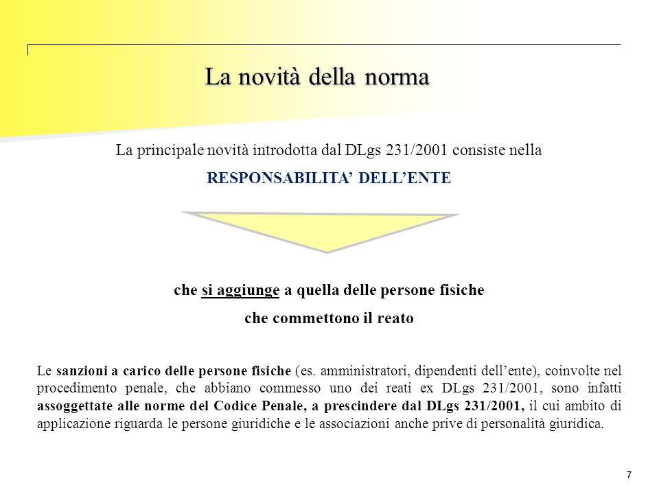 77 La novità della norma La principale novità introdotta dal DLgs 231/2001 consiste nella RESPONSABILITA' DELL'ENTE che si aggiunge a quella delle per