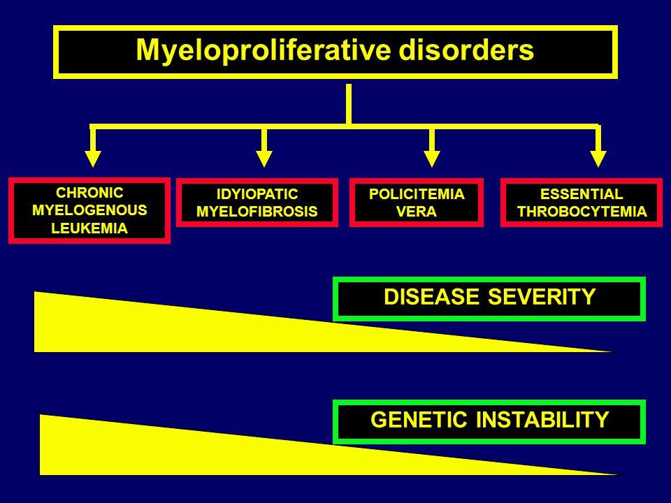 Myeloproliferative disorders CHRONIC MYELOGENOUS LEUKEMIA POLICITEMIA VERA IDYIOPATIC MYELOFIBROSIS ESSENTIAL THROBOCYTEMIA DISEASE SEVERITY GENETIC I