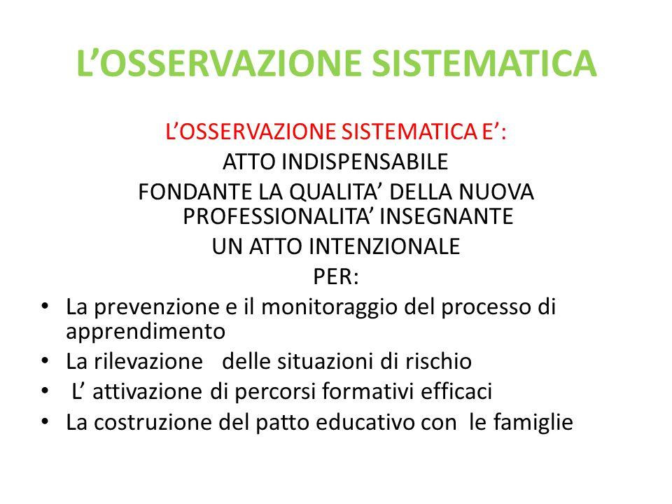 L'OSSERVAZIONE SISTEMATICA L'OSSERVAZIONE SISTEMATICA E': ATTO INDISPENSABILE FONDANTE LA QUALITA' DELLA NUOVA PROFESSIONALITA' INSEGNANTE UN ATTO INT