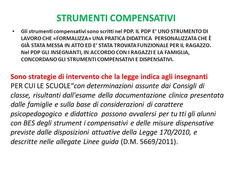 STRUMENTI COMPENSATIVI Gli strumenti compensativi sono scritti nel PDP. IL PDP E' UNO STRUMENTO DI LAVORO CHE «FORMALIZZA» UNA PRATICA DIDATTICA PERSO