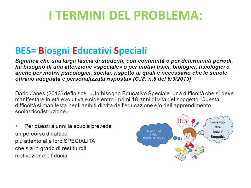 I TERMINI DEL PROBLEMA: BES= Biosgni Educativi Speciali Significa che una larga fascia di studenti, con continuità o per determinati periodi, ha bisog