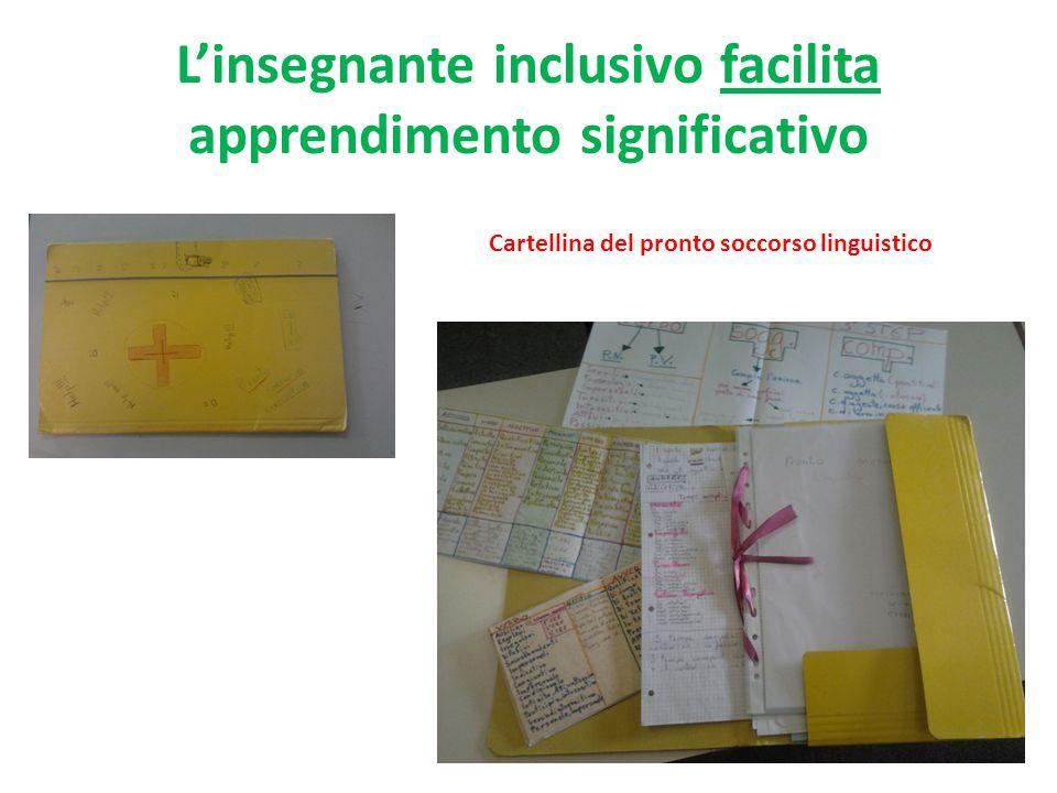 L'insegnante inclusivo facilita apprendimento significativo Cartellina del pronto soccorso linguistico