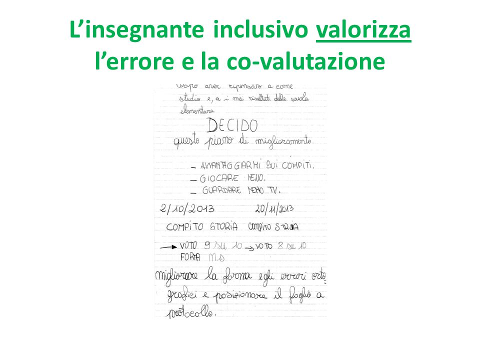 L'insegnante inclusivo valorizza l'errore e la co-valutazione