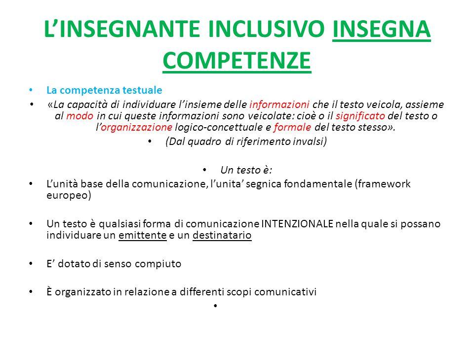 L'INSEGNANTE INCLUSIVO INSEGNA COMPETENZE La competenza testuale «La capacità di individuare l'insieme delle informazioni che il testo veicola, assiem