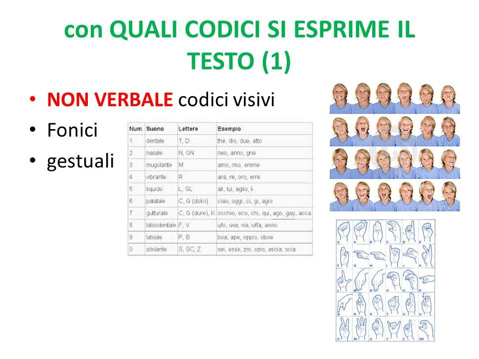 con QUALI CODICI SI ESPRIME IL TESTO (1) NON VERBALE codici visivi Fonici gestuali