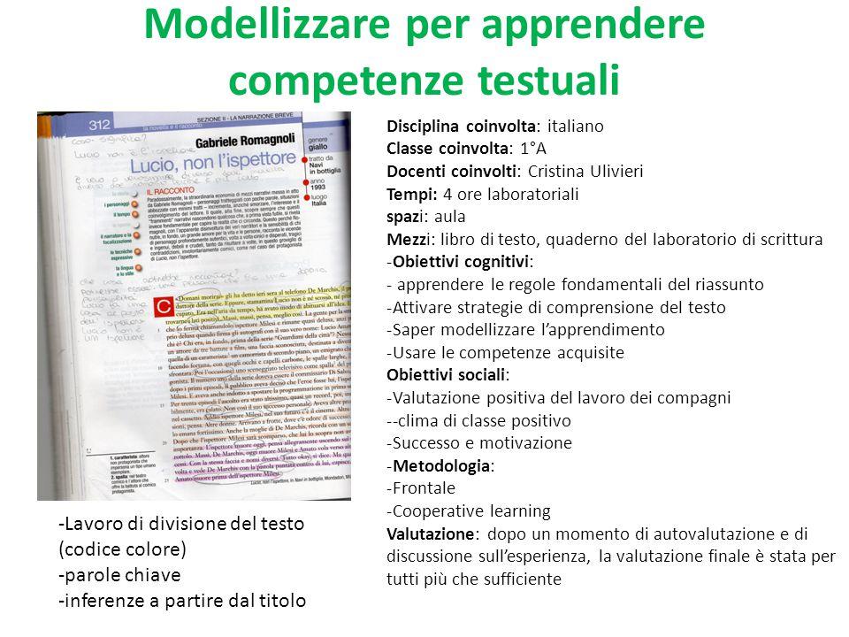 Modellizzare per apprendere competenze testuali Disciplina coinvolta: italiano Classe coinvolta: 1°A Docenti coinvolti: Cristina Ulivieri Tempi: 4 ore
