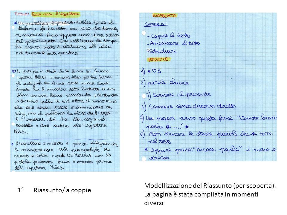 1° Riassunto/ a coppie Modellizzazione del Riassunto (per scoperta). La pagina è stata compilata in momenti diversi
