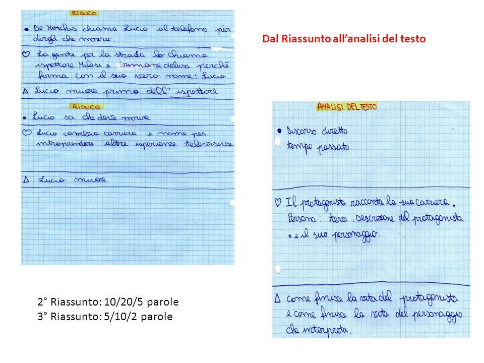 2° Riassunto: 10/20/5 parole 3° Riassunto: 5/10/2 parole Dal Riassunto all'analisi del testo