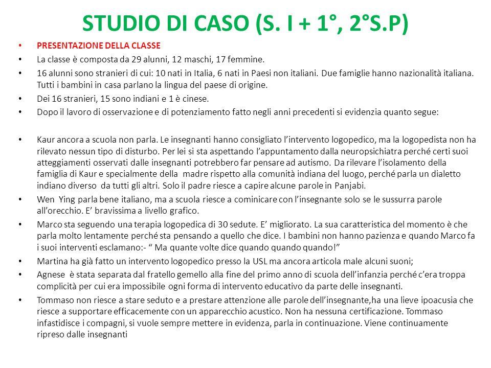 STUDIO DI CASO (S. I + 1°, 2°S.P) PRESENTAZIONE DELLA CLASSE La classe è composta da 29 alunni, 12 maschi, 17 femmine. 16 alunni sono stranieri di cui