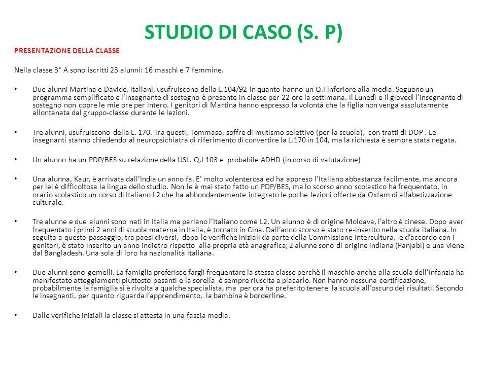 STUDIO DI CASO (S. P) PRESENTAZIONE DELLA CLASSE Nella classe 3° A sono iscritti 23 alunni: 16 maschi e 7 femmine. Due alunni Martina e Davide, italia