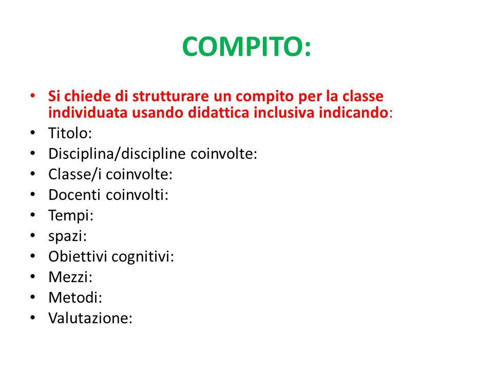 COMPITO: Si chiede di strutturare un compito per la classe individuata usando didattica inclusiva indicando: Titolo: Disciplina/discipline coinvolte: