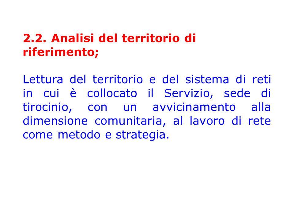2.2. Analisi del territorio di riferimento; Lettura del territorio e del sistema di reti in cui è collocato il Servizio, sede di tirocinio, con un avv