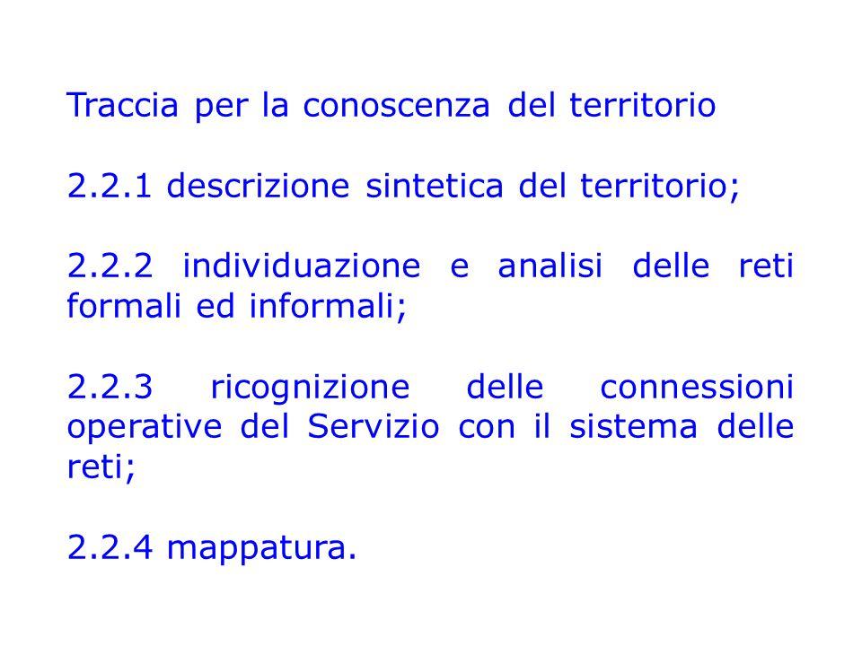 Traccia per la conoscenza del territorio 2.2.1 descrizione sintetica del territorio; 2.2.2 individuazione e analisi delle reti formali ed informali; 2.2.3 ricognizione delle connessioni operative del Servizio con il sistema delle reti; 2.2.4 mappatura.