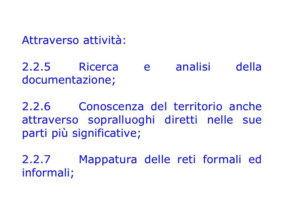 Attraverso attività: 2.2.5Ricerca e analisi della documentazione; 2.2.6 Conoscenza del territorio anche attraverso sopralluoghi diretti nelle sue parti più significative; 2.2.7 Mappatura delle reti formali ed informali;
