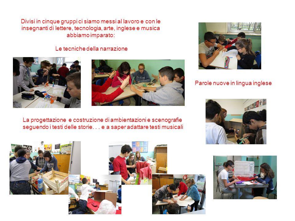 Divisi in cinque gruppi ci siamo messi al lavoro e con le insegnanti di lettere, tecnologia, arte, inglese e musica abbiamo imparato: Le tecniche dell