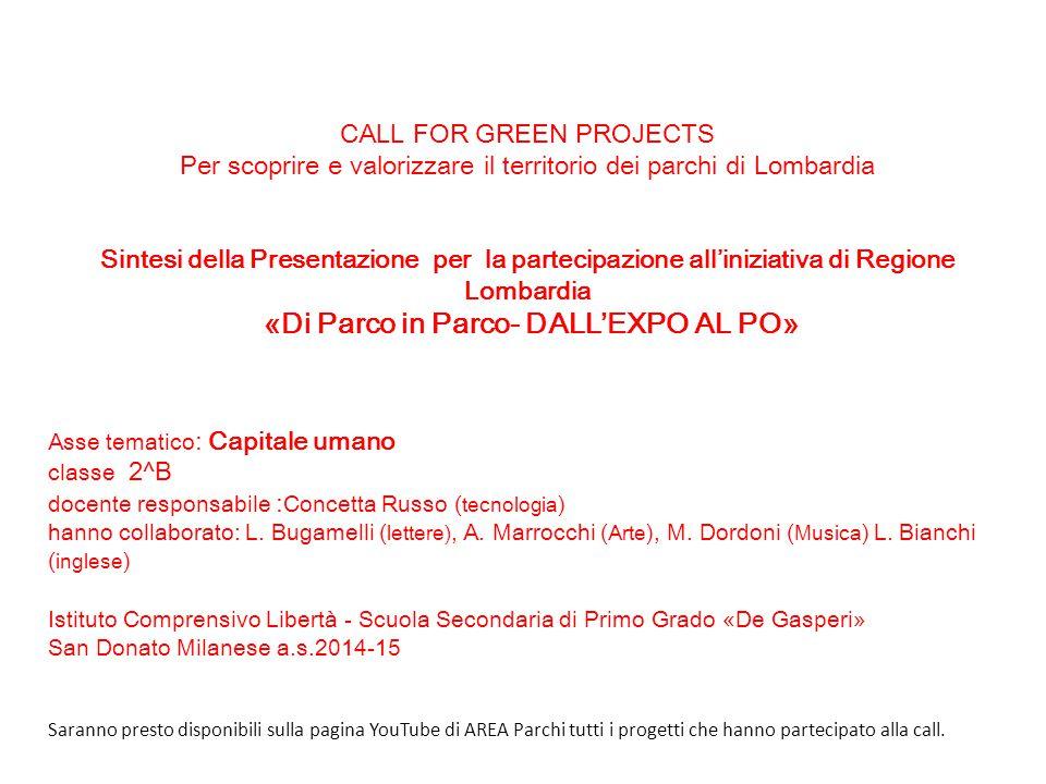 CALL FOR GREEN PROJECTS Per scoprire e valorizzare il territorio dei parchi di Lombardia Sintesi della Presentazione per la partecipazione all'iniziat