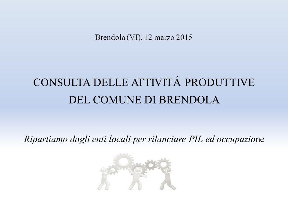 Brendola (VI), 12 marzo 2015 CONSULTA DELLE ATTIVITÁ PRODUTTIVE DEL COMUNE DI BRENDOLA Ripartiamo dagli enti locali per rilanciare PIL ed occupazione
