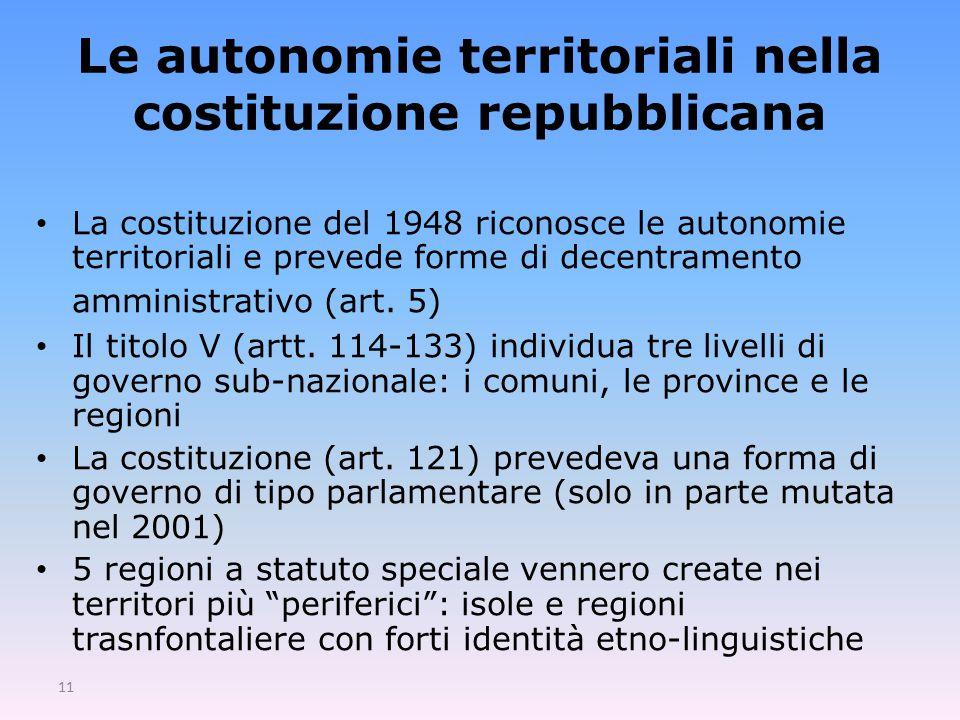 11 Le autonomie territoriali nella costituzione repubblicana La costituzione del 1948 riconosce le autonomie territoriali e prevede forme di decentramento amministrativo (art.