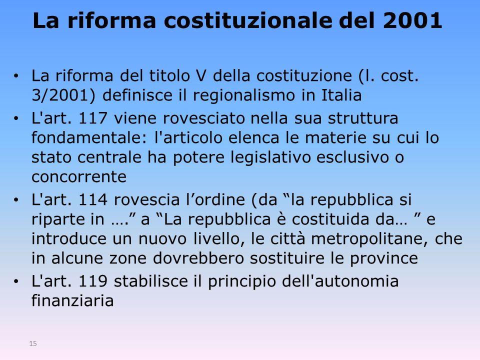 15 La riforma costituzionale del 2001 La riforma del titolo V della costituzione (l.