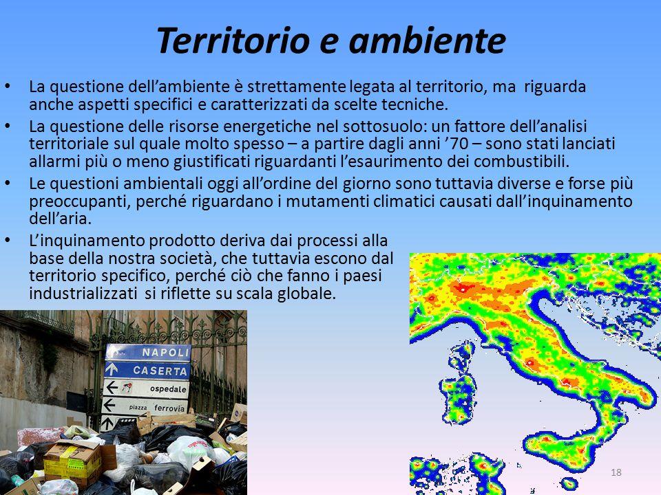 Territorio e ambiente La questione dell'ambiente è strettamente legata al territorio, ma riguarda anche aspetti specifici e caratterizzati da scelte tecniche.