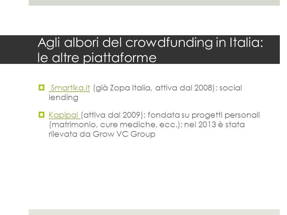 Nascita ed evoluzione del crowdfunding: portare le esperienze straniere in Italia (2010-11)  Nel 2010 nascono altre 3 piattaforme, sulla scorta della visibilità internazionale di Kickstarter e Indiegogo: YouCapital (oggi non attiva), Prestiamoci (social lending) e IoDono (personal fundraising online)  Nel 2011 si registra un primo picco di attività: nascono Retedeldono, Buona Causa, ShinyNote, Eppela, Cineama (oggi uno dei network di Produzionidalbasso) e Boomstarter  Le prime tre sono ancora oggi le principali piattaforme donation-based, si ispiravano all'esperienza internazionale di JustGiving e sono principalmente rivolte alle organizzazioni non profit