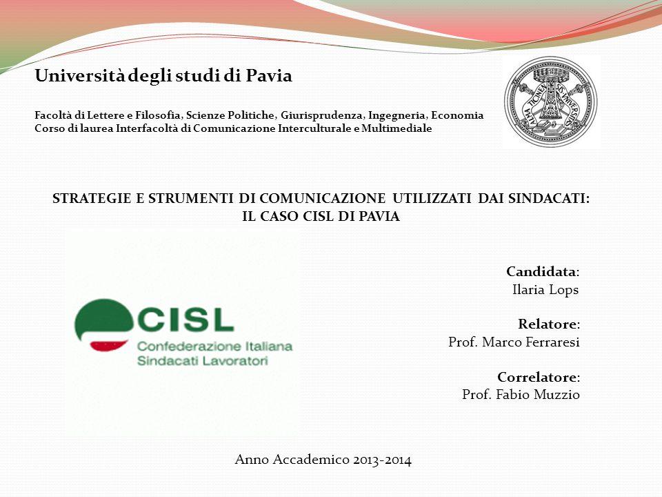 Università degli studi di Pavia Facoltà di Lettere e Filosofia, Scienze Politiche, Giurisprudenza, Ingegneria, Economia Corso di laurea Interfacoltà d