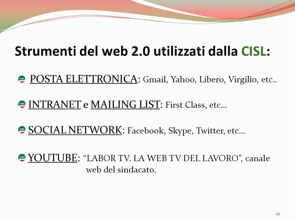 Strumenti del web 2.0 utilizzati dalla CISL: POSTA ELETTRONICA: Gmail, Yahoo, Libero, Virgilio, etc.. INTRANET e MAILING LIST: First Class, etc... SOC