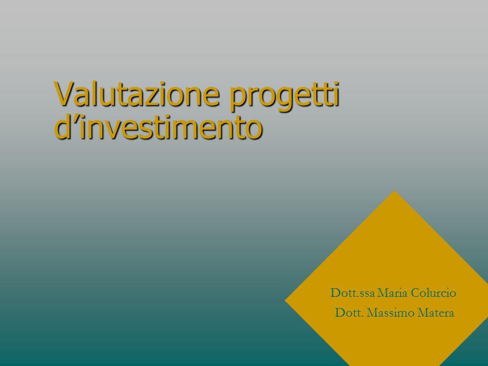 Metodi di valutazione di progetti d'investimento non strategici: Redditività dell'investimentoRedditività dell'investimento Periodo di recuperoPeriodo di recupero Tasso redditività attualizzataTasso redditività attualizzata Valore attuale nettoValore attuale netto
