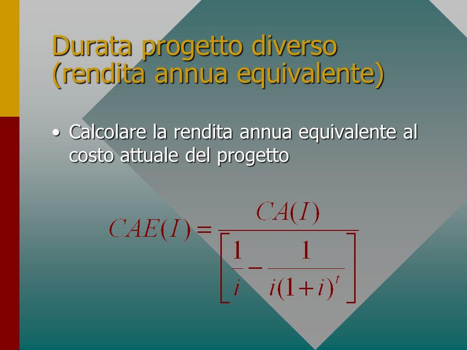 Durata progetto diverso (rendita annua equivalente) Calcolare la rendita annua equivalente al costo attuale del progettoCalcolare la rendita annua equivalente al costo attuale del progetto