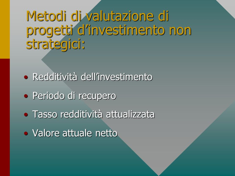 Metodi di valutazione di progetti d'investimento non strategici: Redditività dell'investimentoRedditività dell'investimento Periodo di recuperoPeriodo