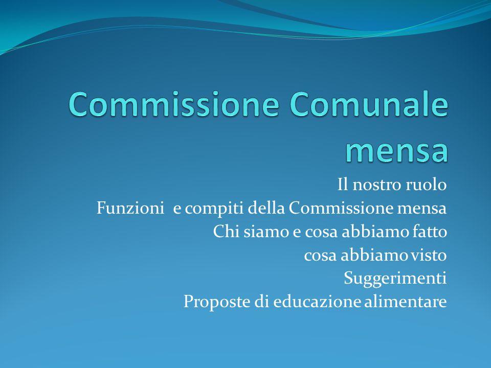 Il nostro ruolo Funzioni e compiti della Commissione mensa Chi siamo e cosa abbiamo fatto cosa abbiamo visto Suggerimenti Proposte di educazione alime