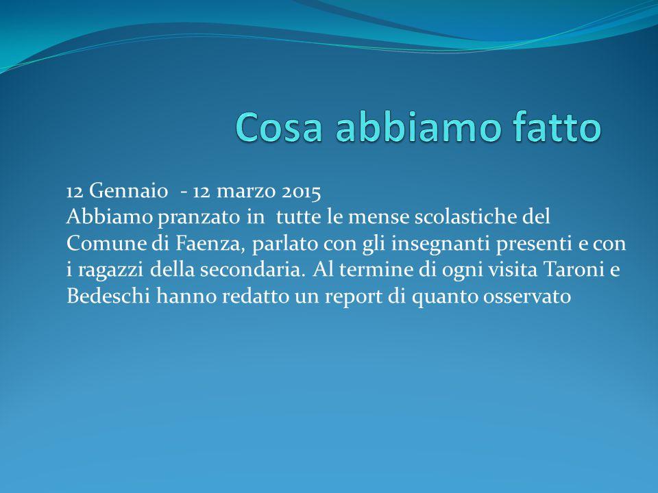 12 Gennaio - 12 marzo 2015 Abbiamo pranzato in tutte le mense scolastiche del Comune di Faenza, parlato con gli insegnanti presenti e con i ragazzi de
